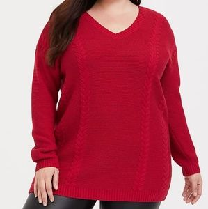 Torrid Red Cable Knit Tunic Sweater 1X